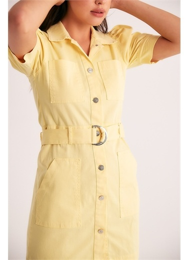 Robin Robin Kemerli Karpuz Kol Elbise Sarı Sarı
